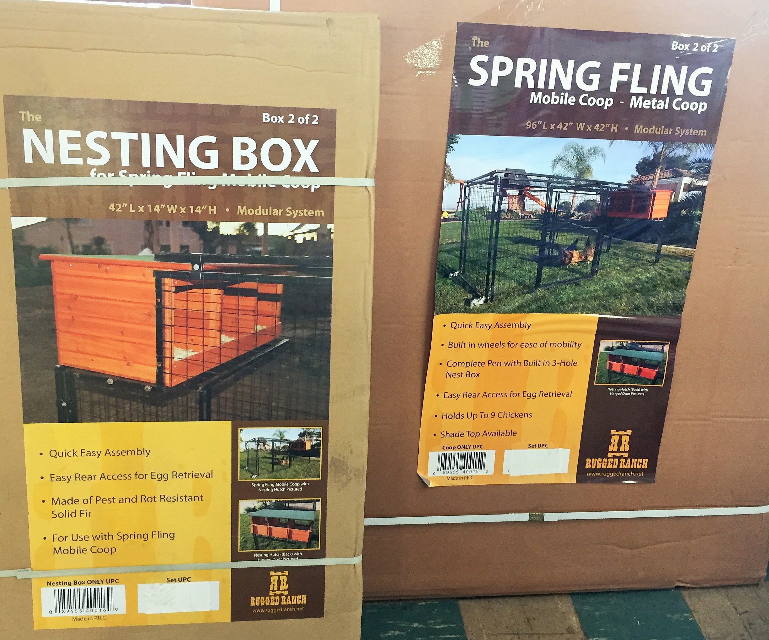 Large, all-metal, mobile chicken coop with nesting boxes