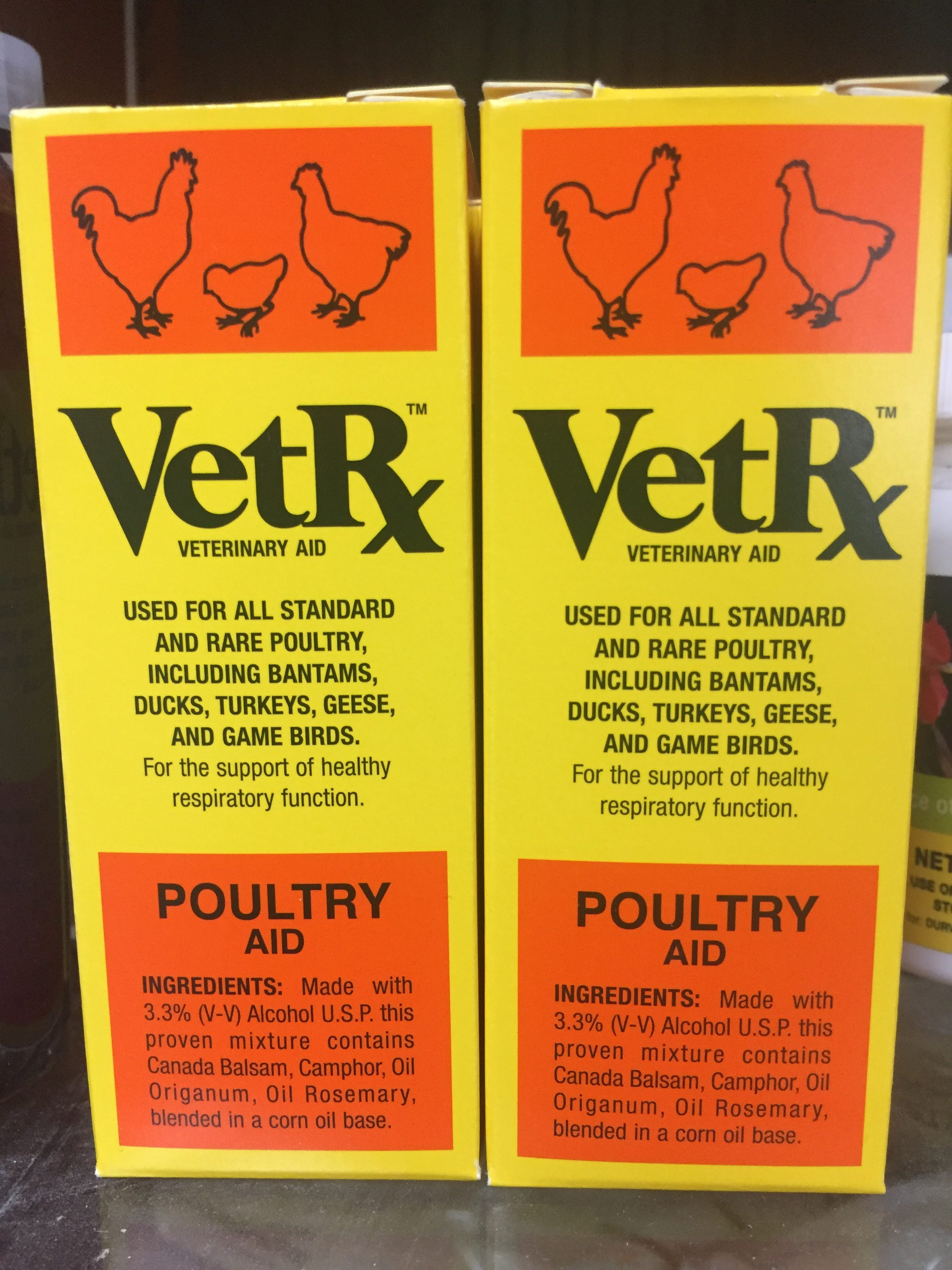 For use as an aid in the treatment of respiratory problems in all varieties of poultry.